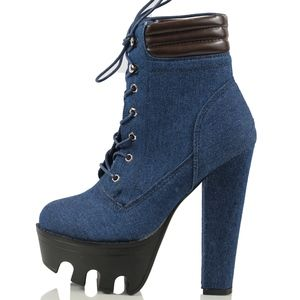 Shoes - Size 7 Dark Blue Denim Lug Sole Ankle Boot
